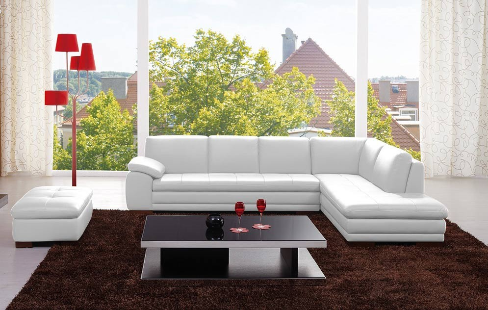 625 Modern Sectional Sofa in White Italian Leather