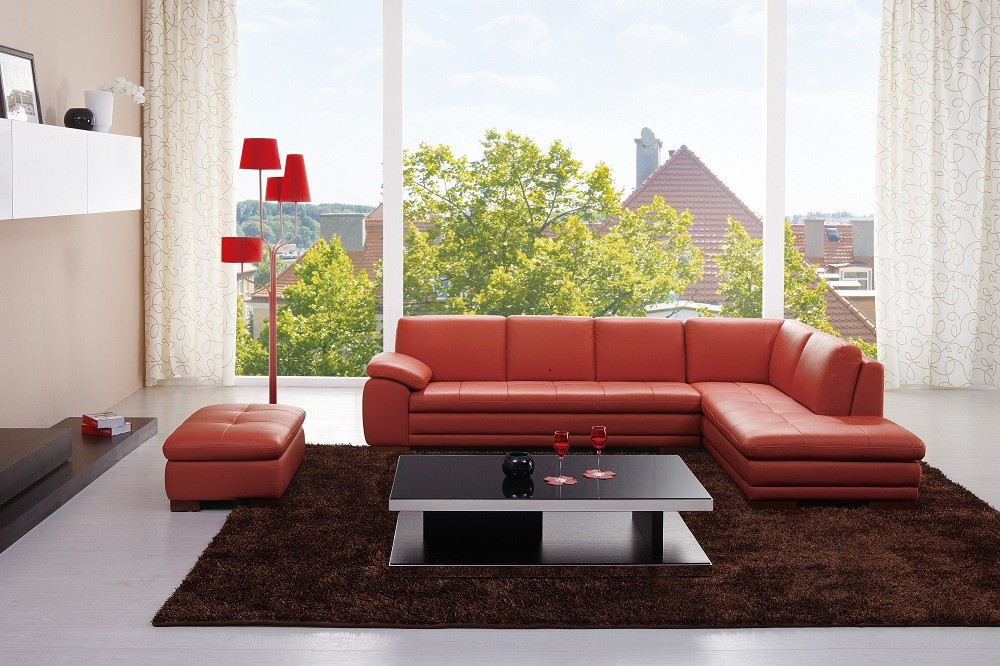 625 Sectional Sofa in Pumpkin Italian Leather