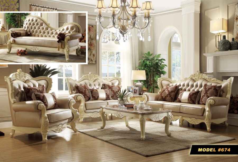 Cream Wood Trim Pearl Leather Living Room Set 674