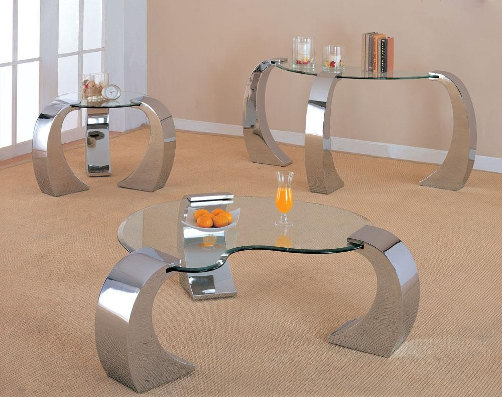 - Contemporary Heart Shape Glass Chromed Coffee End Table Set