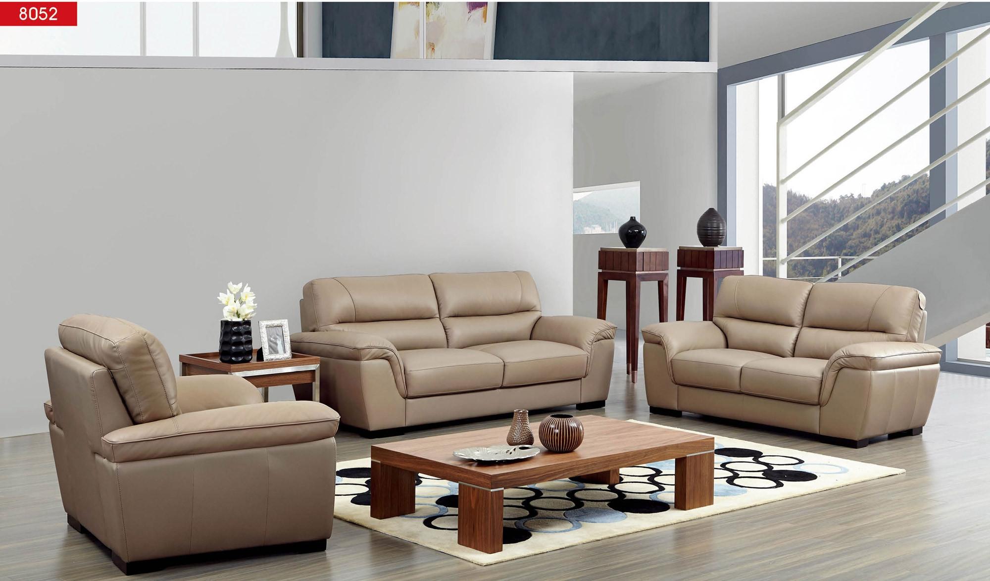 Esf 8052 Modern Living Room Set In Camel Leather