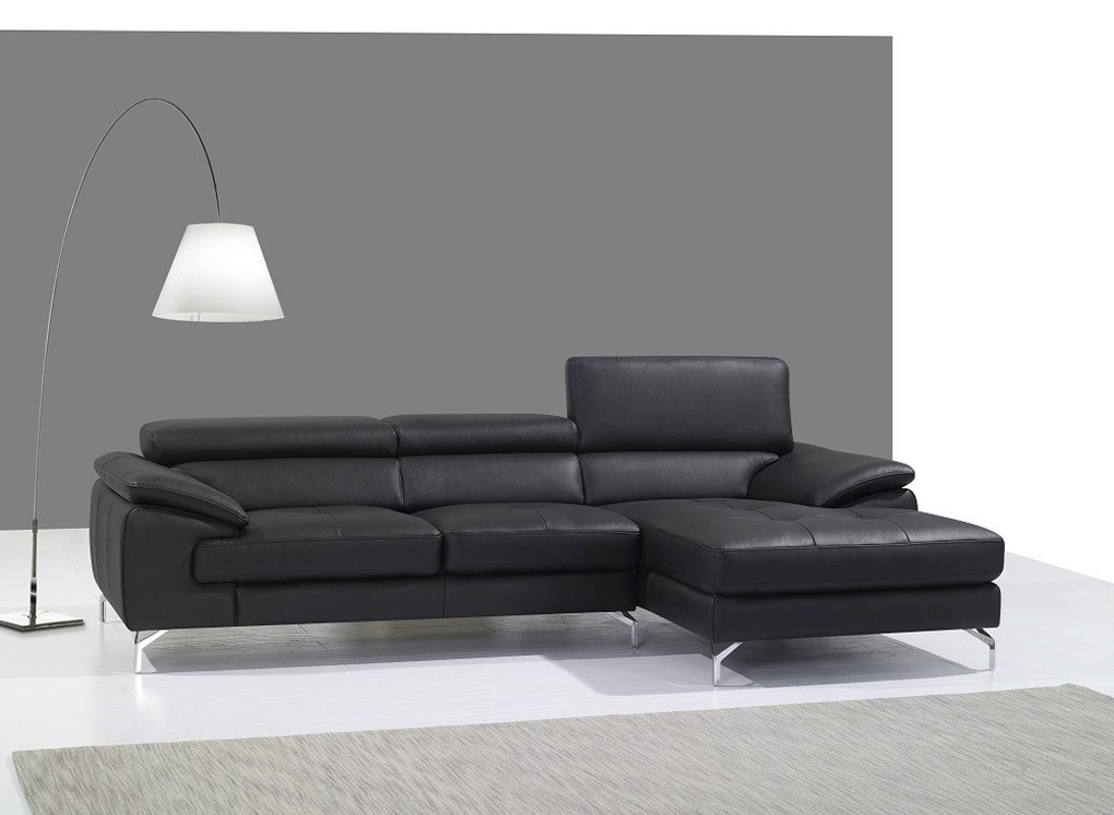A973B Black Leather Sectional Sofa in Compact Size