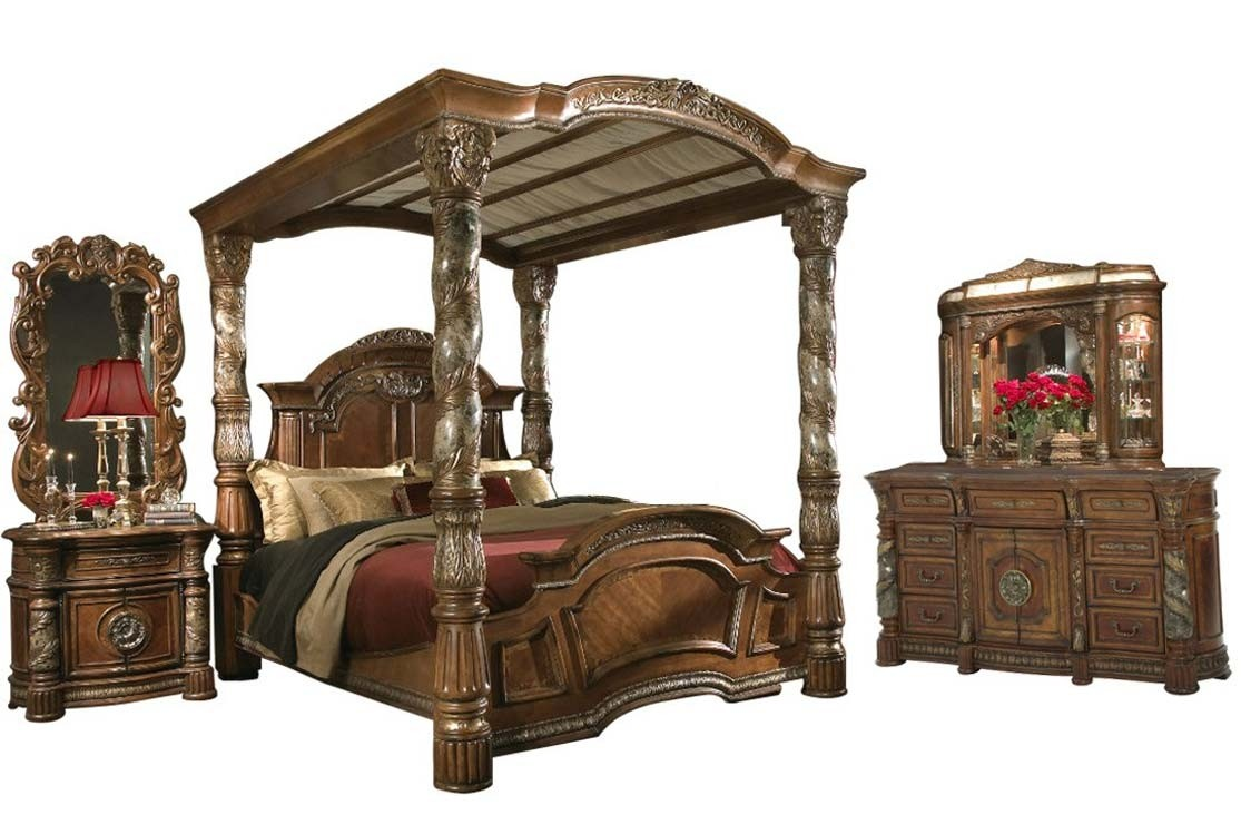 Aico Villa Valencia Canopy Bedroom Set In Chestnut Finish