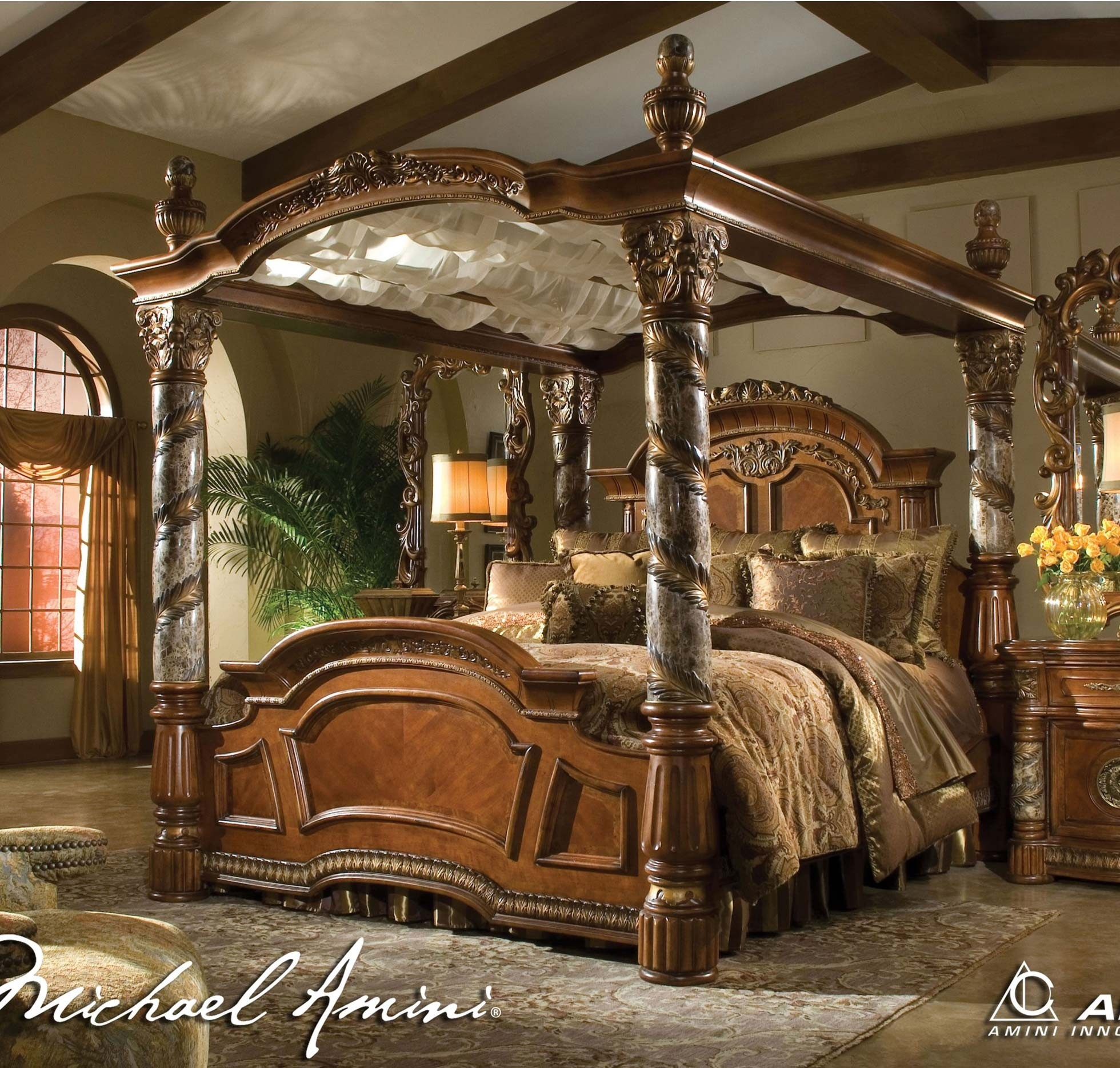 Aico Villa Valencia Canopy Bedroom Set In Chestnut Finish