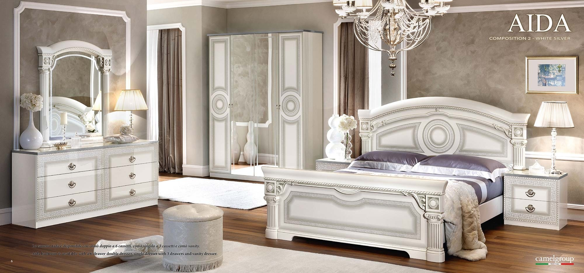 Esf Aida Bedroom Set In White And Silver Italian Finish