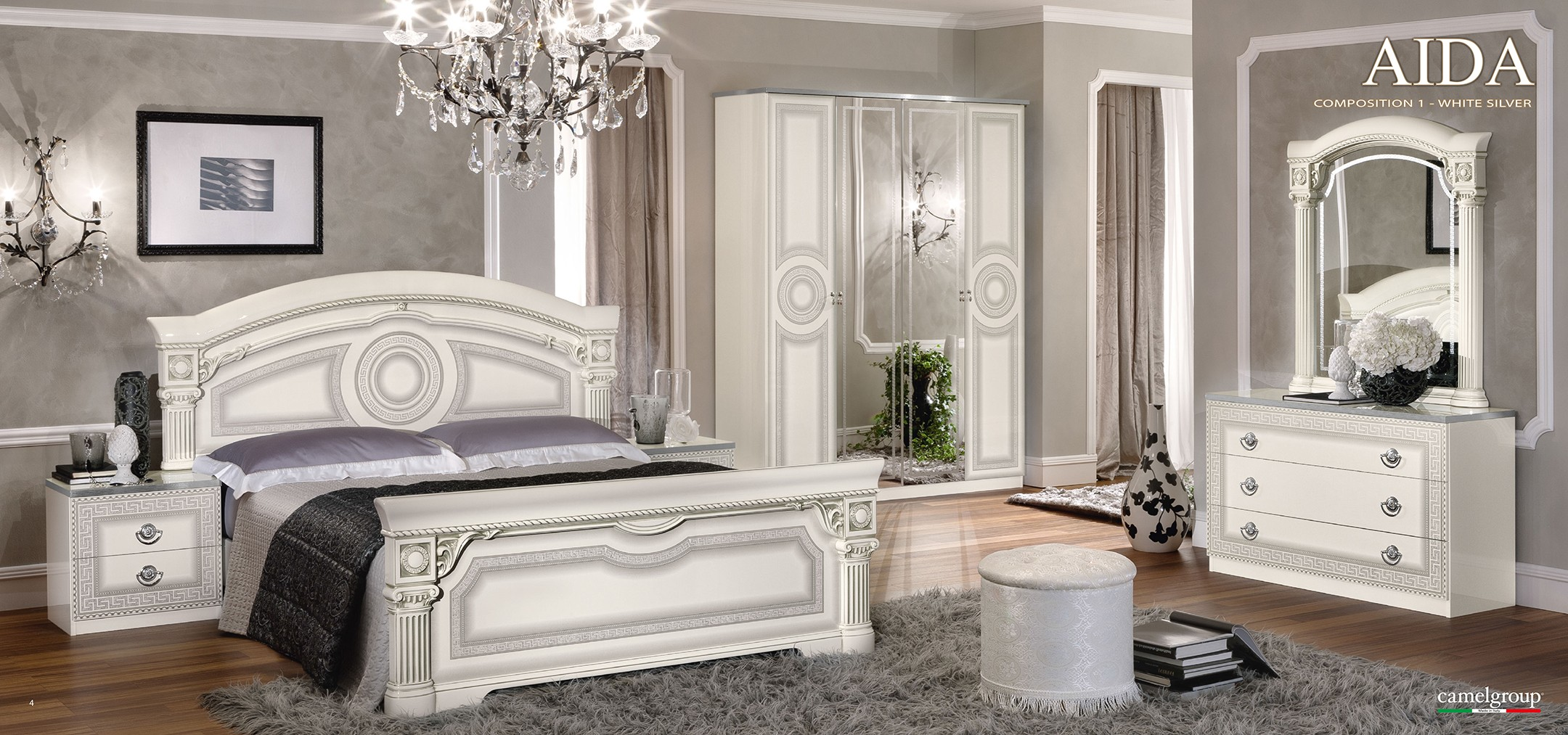 Italian Bed Set Furniture On Aida Italian Bedroom Set In White And Silver Finish Esf