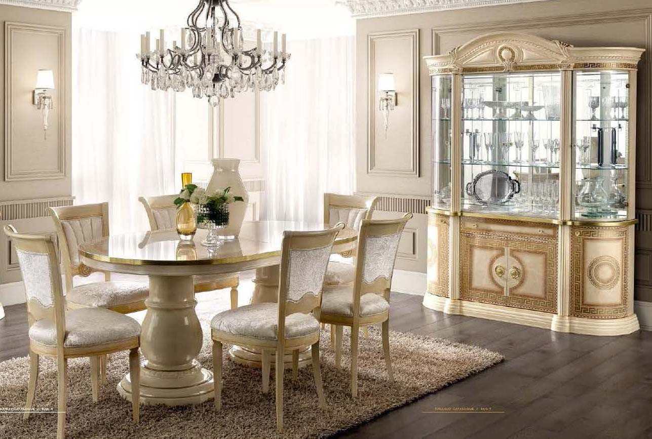 Aida Dining Room Set In Beige And Gold Finish Made In Italy