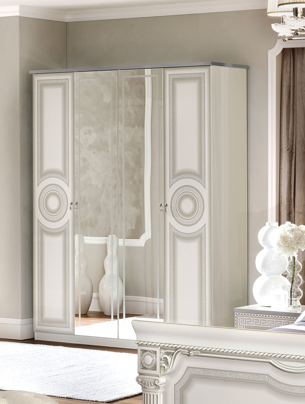 ESF Aida Italian Bedroom Set in White and Silver Finish