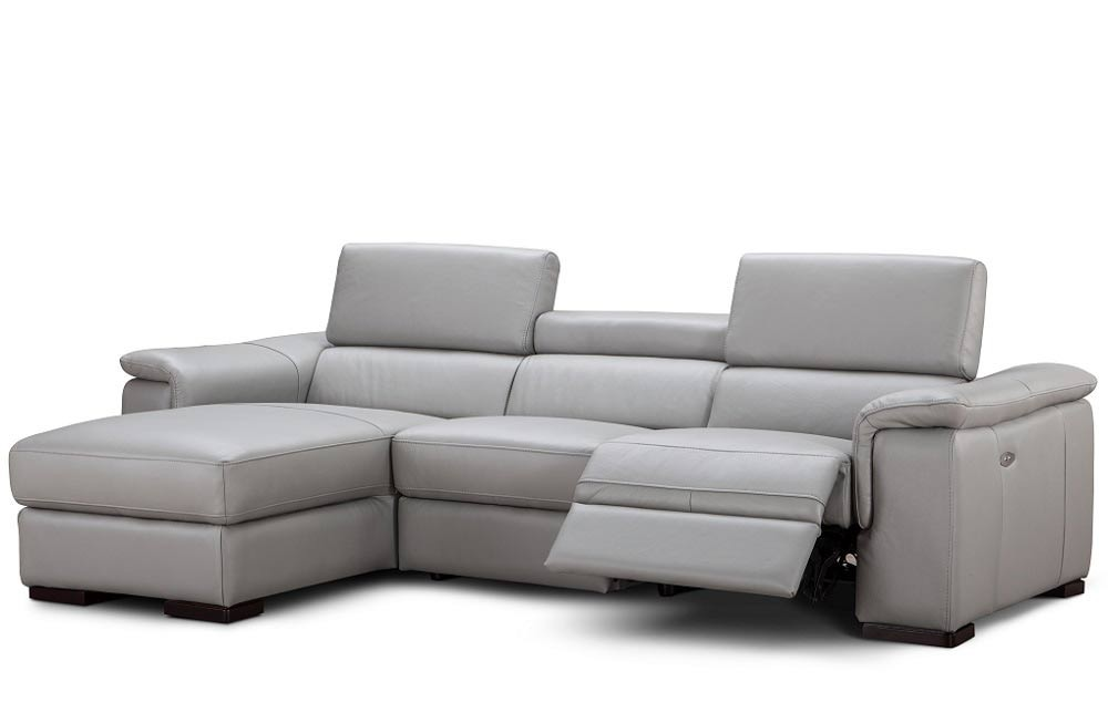 Alba Reclining Sectional Sofa in Light Grey Leather