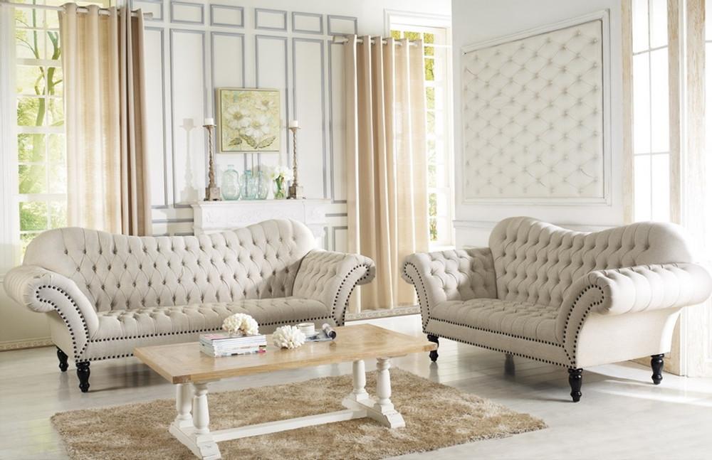 7202 alina beige tufted fabric living room set