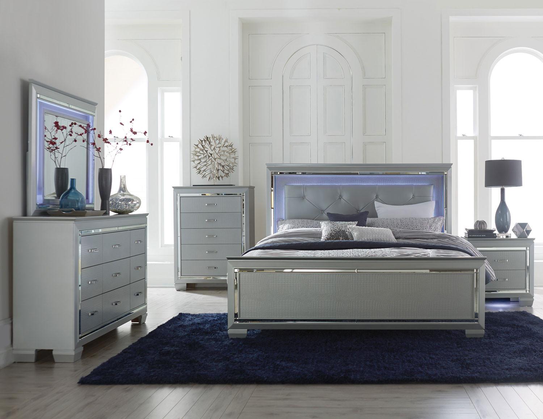 12 Allura White Bedroom Set with LED Lights
