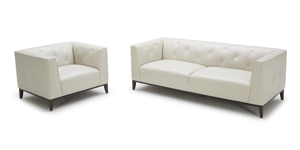 Amelia Sofa Chair In White Contemporary Leather