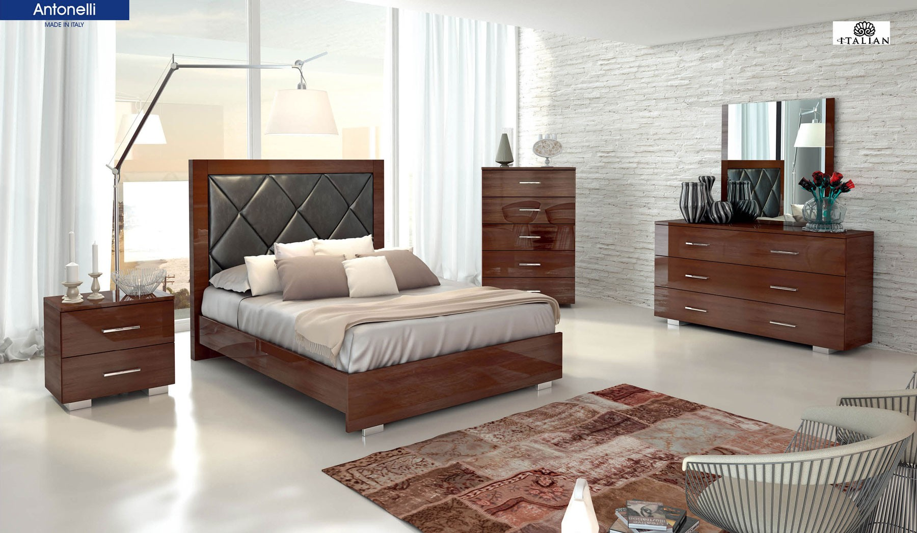 Antonelli Brown Lacquer Bedroom Set by Signature, Italy