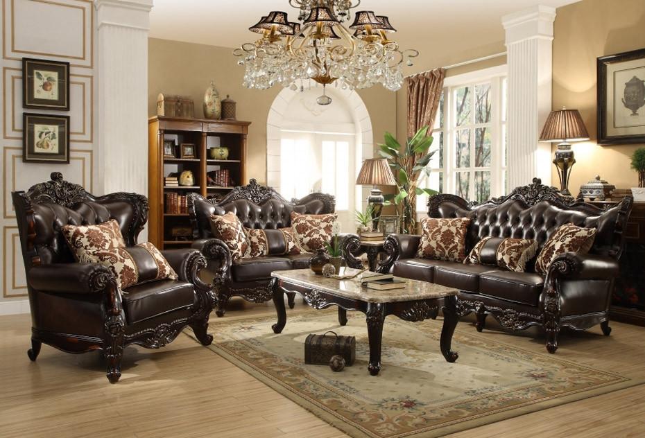 675 Barcelona Living Room Set in Dark Brown Leather