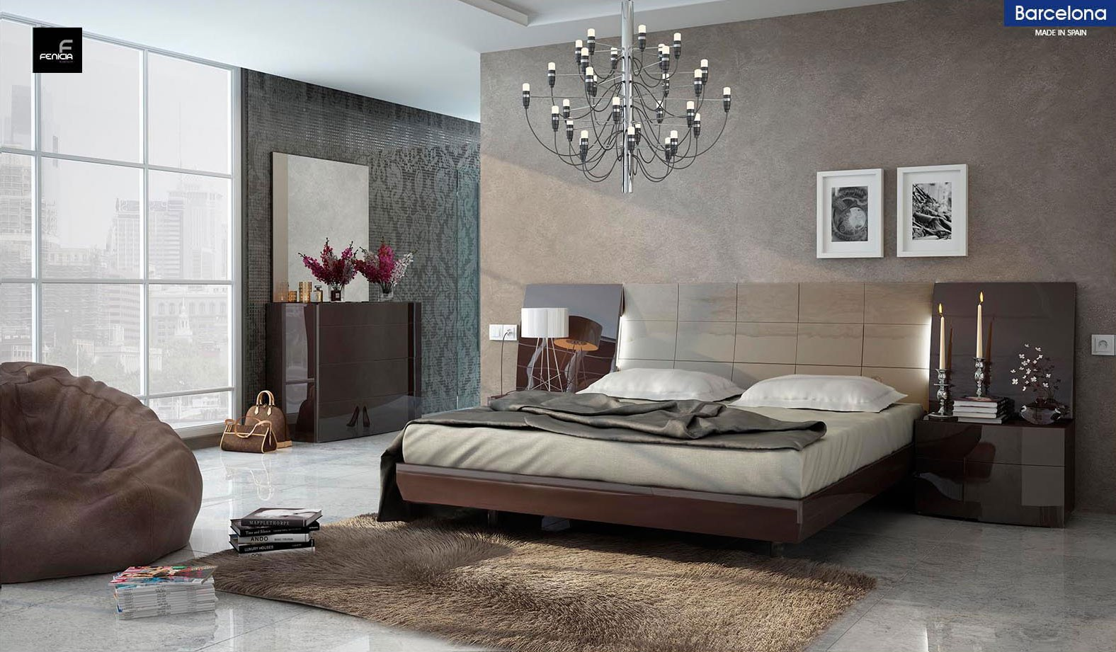 Barcelona Modern Bedroom Set in Brown Lacquer Finish