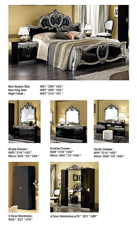 Esf Barocco Italian Bedroom Set In Black And Silver Lacquer