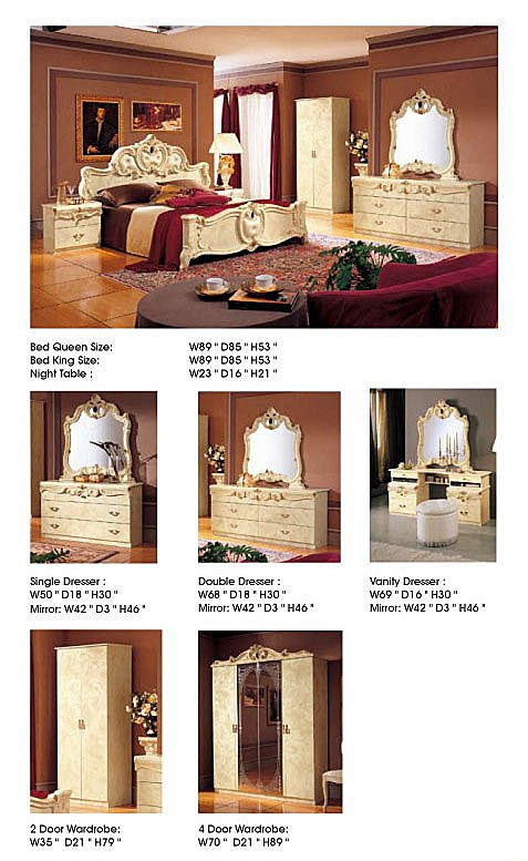 ESF Barocco Italian Bedroom Set in Ivory Finish Lacquer
