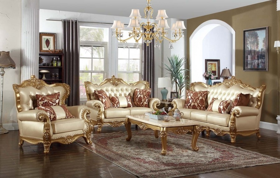 Bennito 676 Traditional Living Room Set In Gold Finish