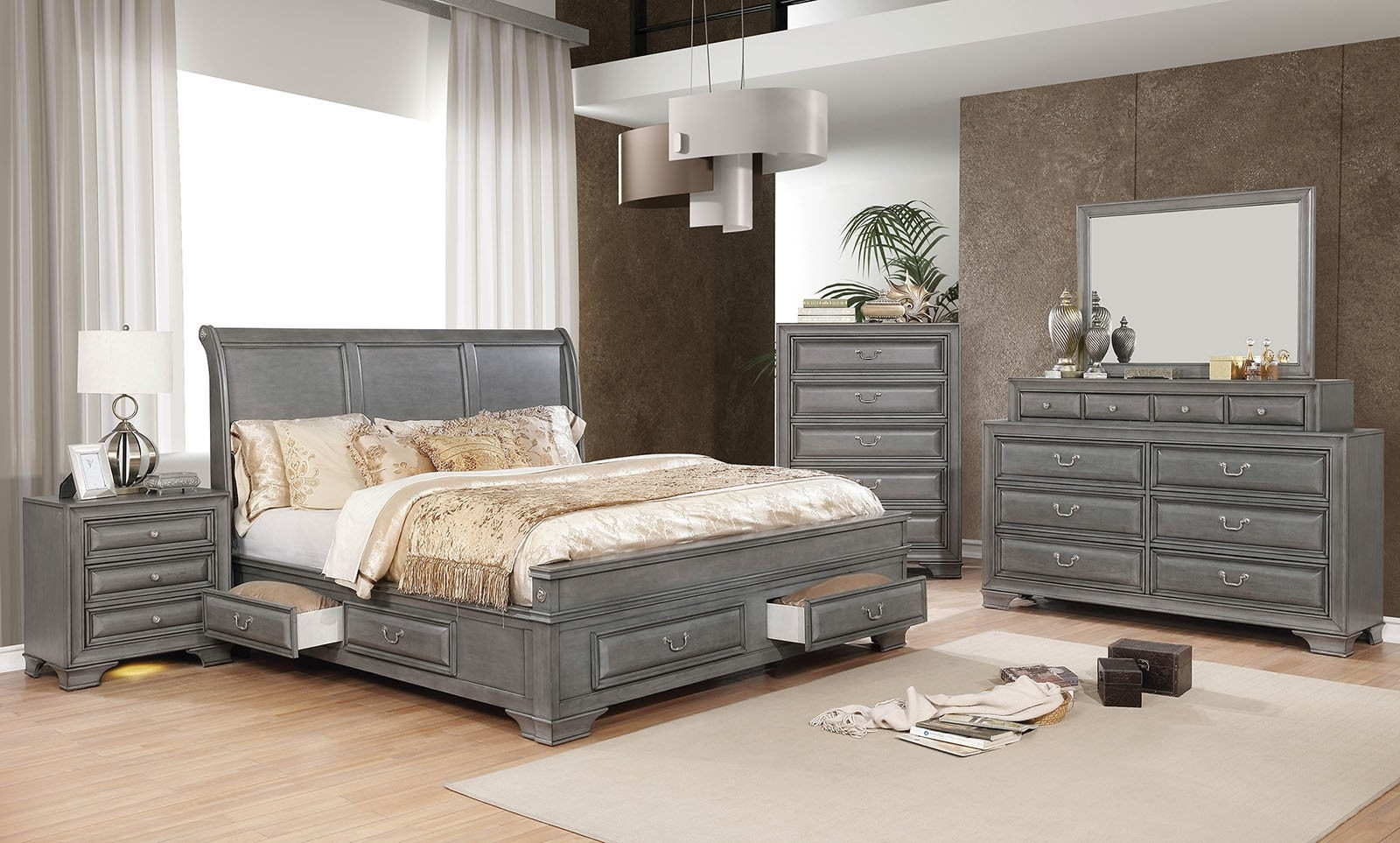 Brandt Bedroom Set In Gray With Storage Bed By Furniture Of America