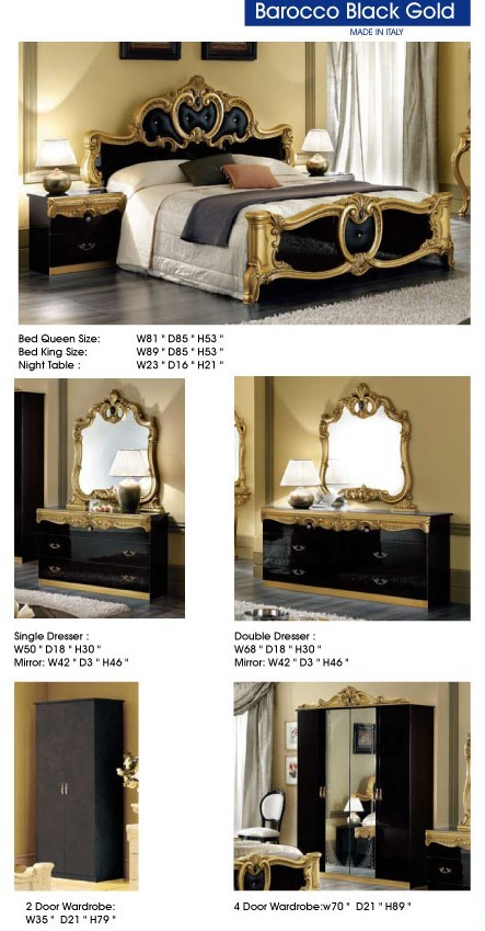 Esf Barocco Italian Bedroom Set In Black And Gold Lacquer