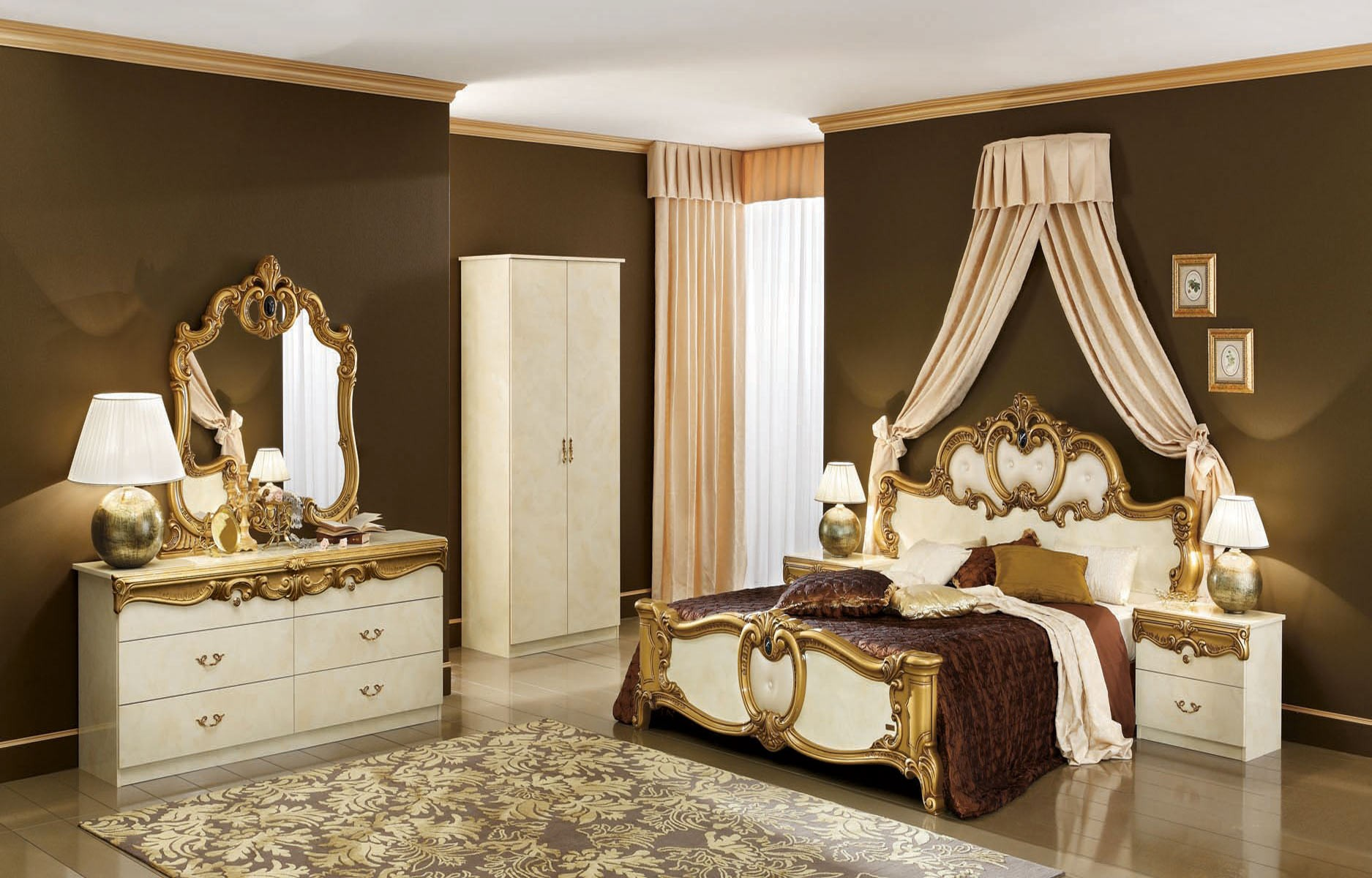 Esf Barocco Italian Bedroom Set In Ivory And Gold Lacquer