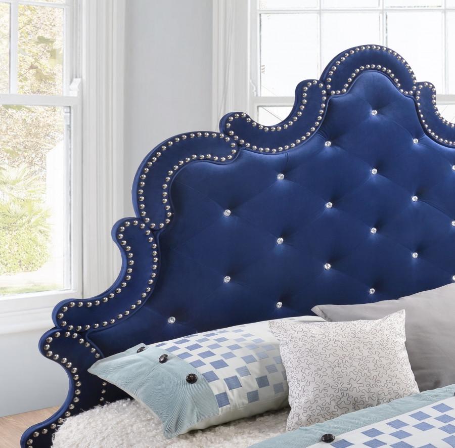Caroline Bedroom Set In Navy Blue By Meridian Furniture