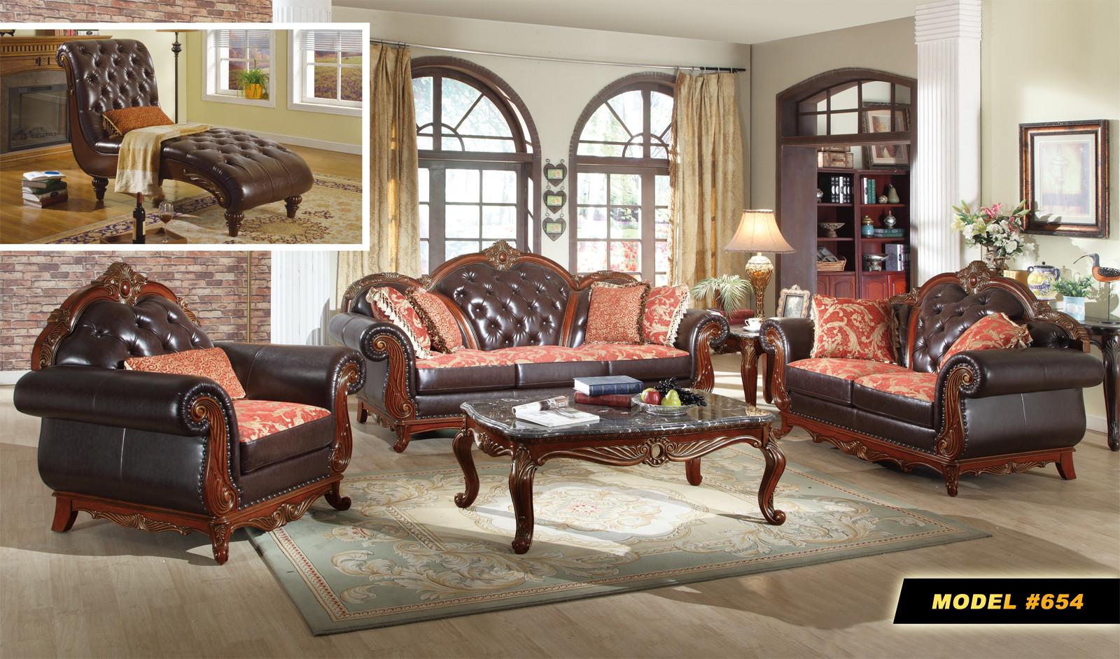 Cherry Wood Trim Black Leather Living Room Set 654