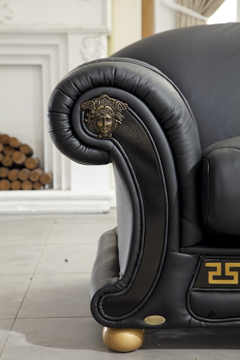 Esf Apolo Living Room Set In Black Italian Leather