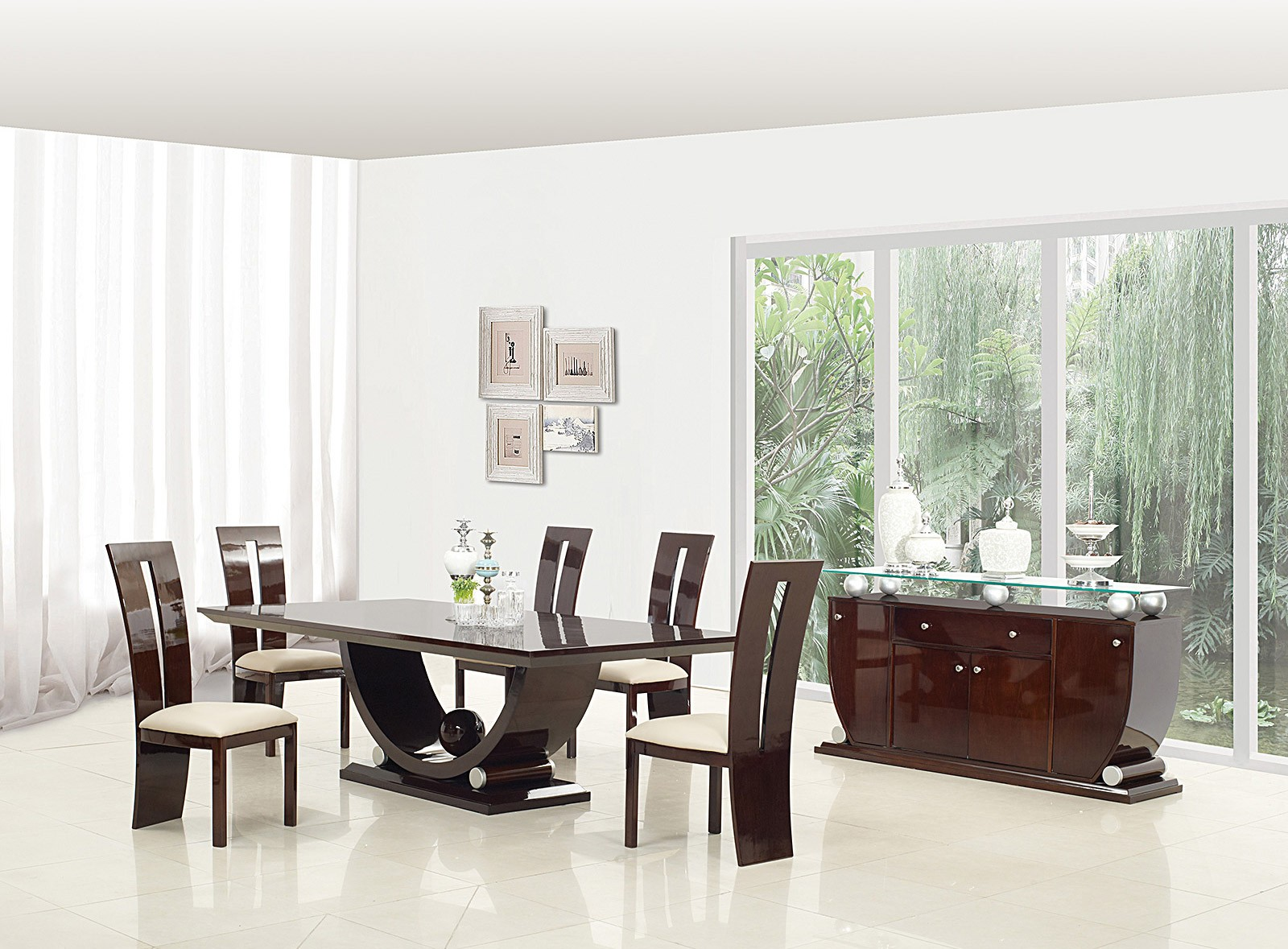 Awesome D12117 Dining Room Set In Dark Brown Lacquer Finish Download Free Architecture Designs Sospemadebymaigaardcom