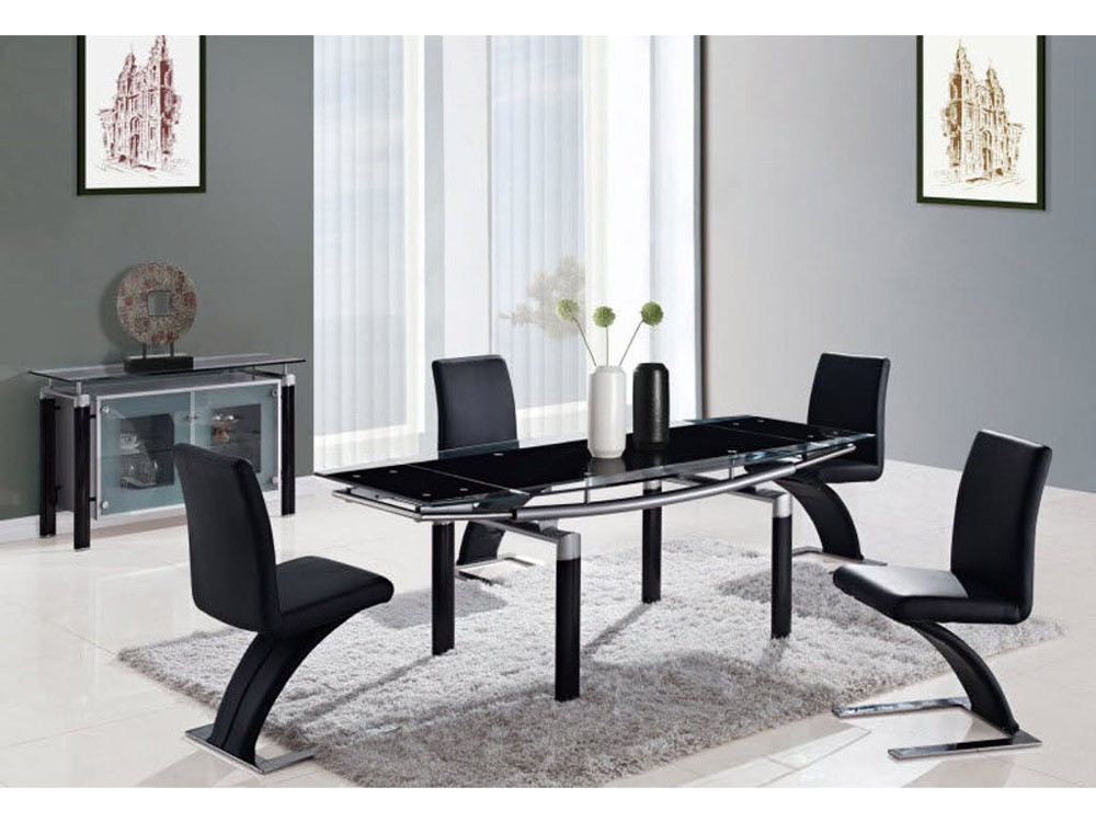 Brilliant D88Dt Dining Room Set With Black Glass Table Black Z Chairs Machost Co Dining Chair Design Ideas Machostcouk