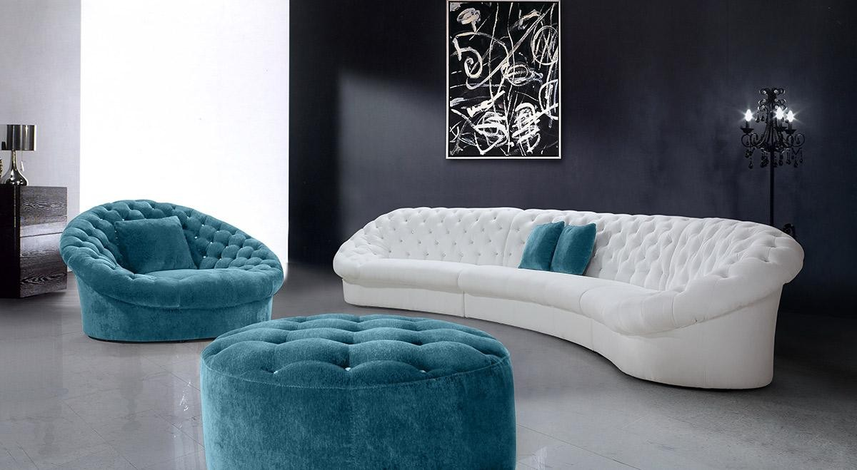 Divani Casa Cosmopolitan Sectional Sofa In Tufted Fabric