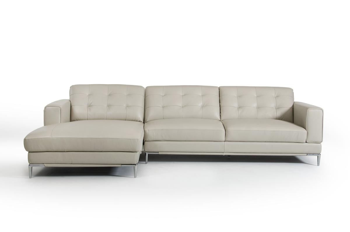 Divani Casa Larkspur Sectional Sofa in Tufted Grey Leather