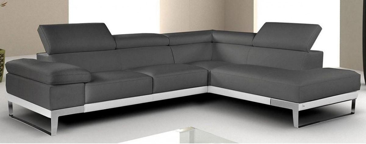 Nicoletti Domus Sectional Sofa in Grey Italian Leather