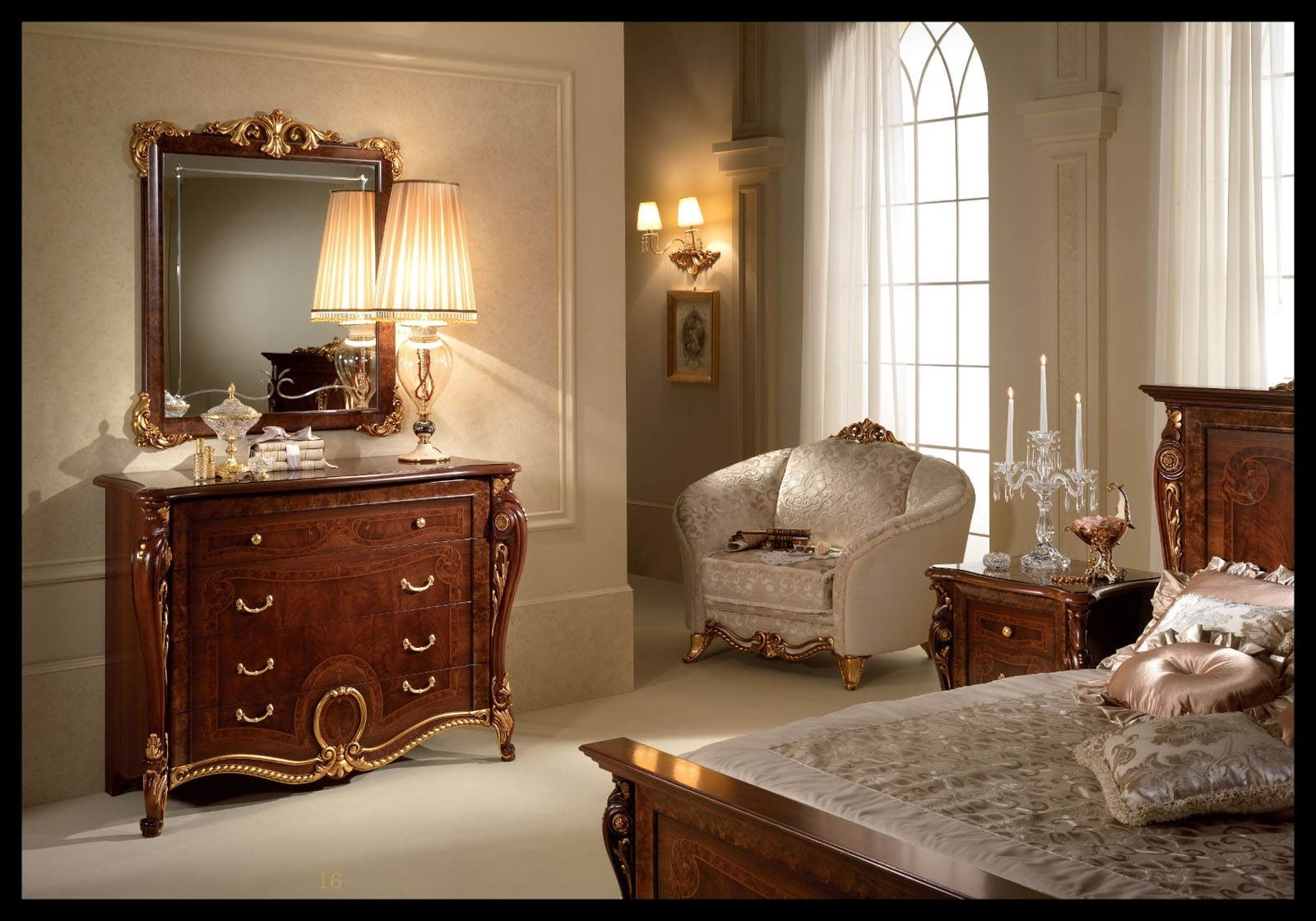 Donatello Italian Bedroom Set In Walnut Finish By Esf
