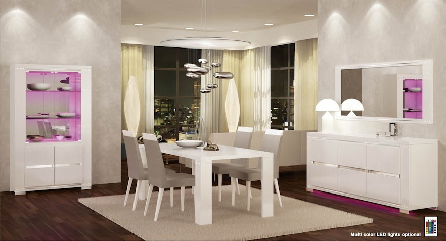 D313 Modern Dining Room Set In White Lacquer Finish: Elegance 2 Italian Dining Room Set In White Finish
