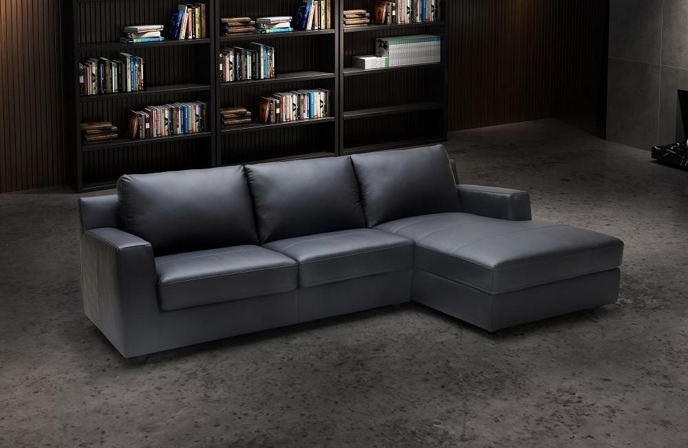 Elizabeth Sectional Sofa Bed In Black Italian Leather
