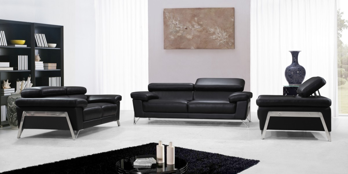 Encore Modern Living Room Set in Black Leather