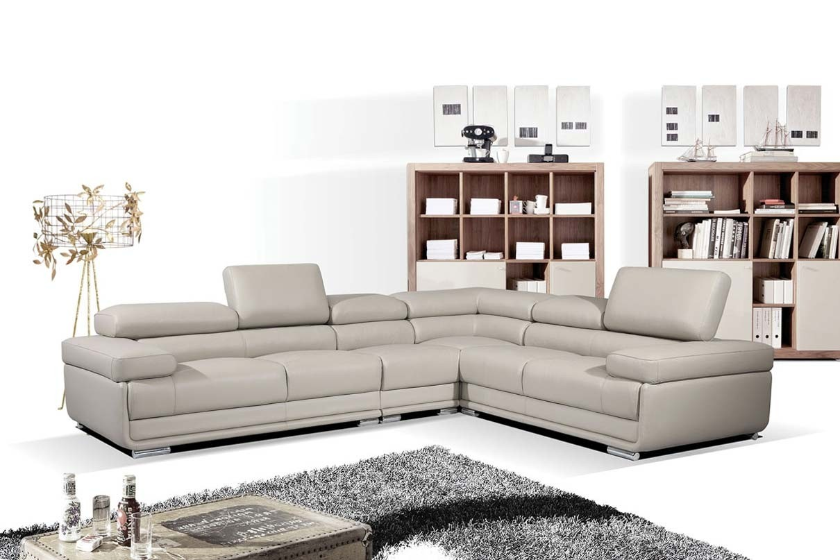 Esf 2119 Modular Sectional Sofa In Light Grey Leather