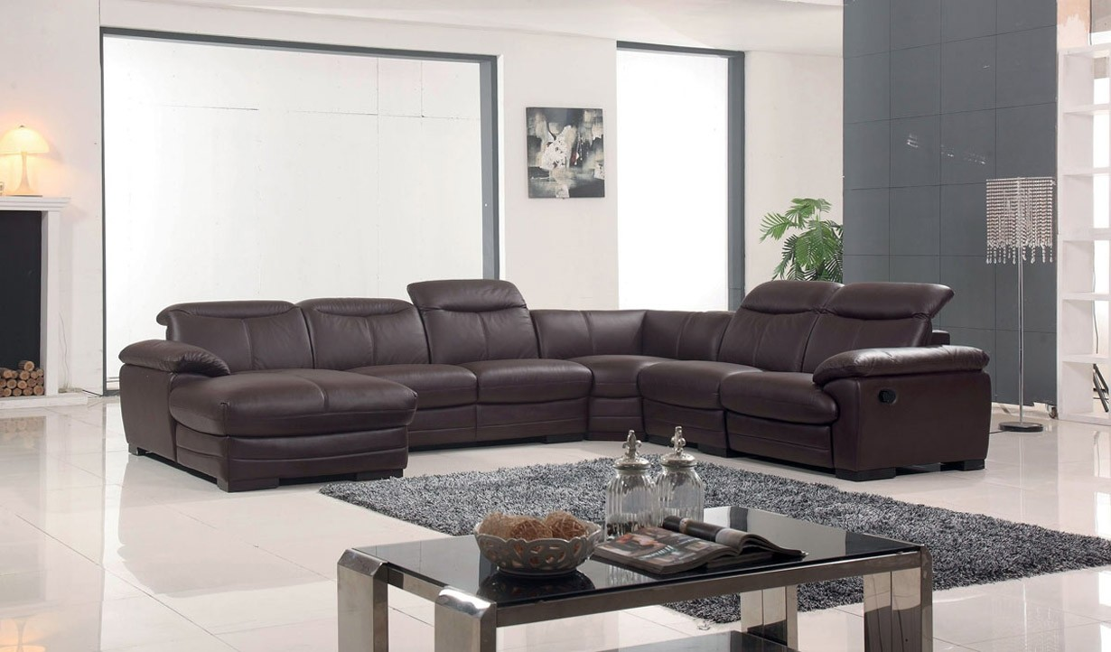 Esf Furniture 2146 Reclining Sectional Sofa In Brown Leather