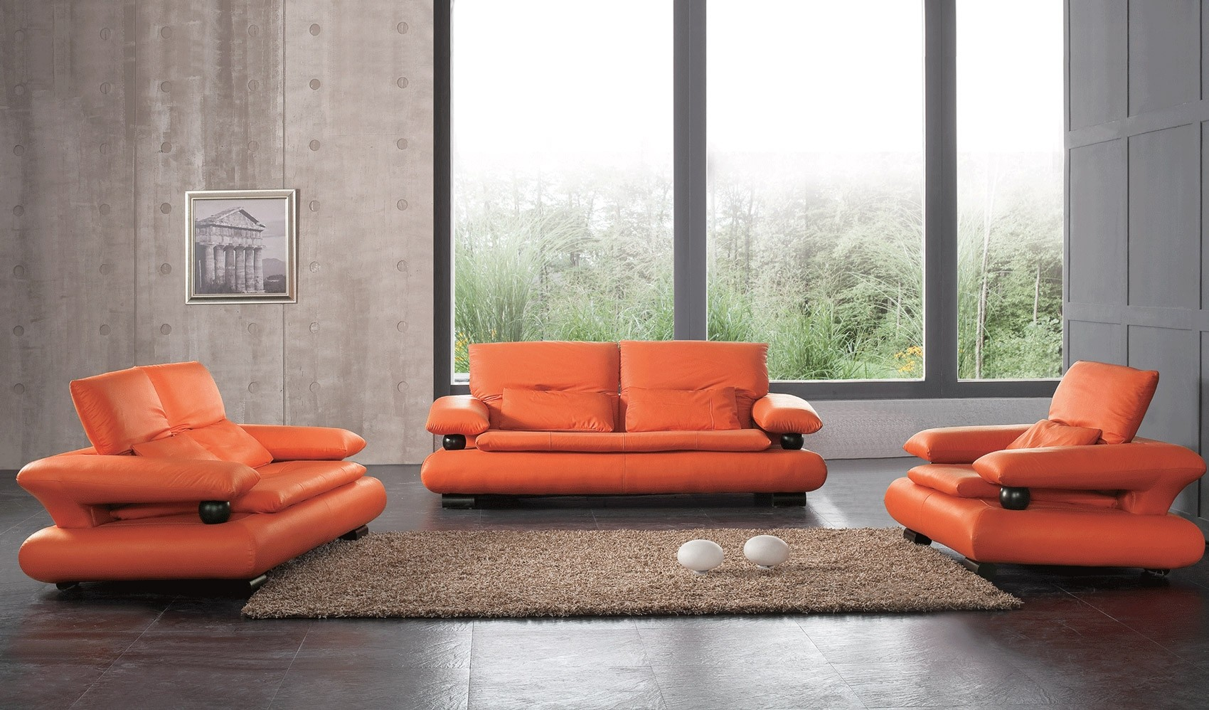 - ESF 410 Living Room Set In Orange Leather Modern Style