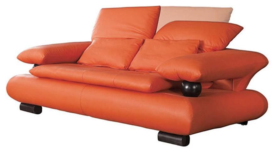 ESF 410 Modern Living Room Set in Orange Leather