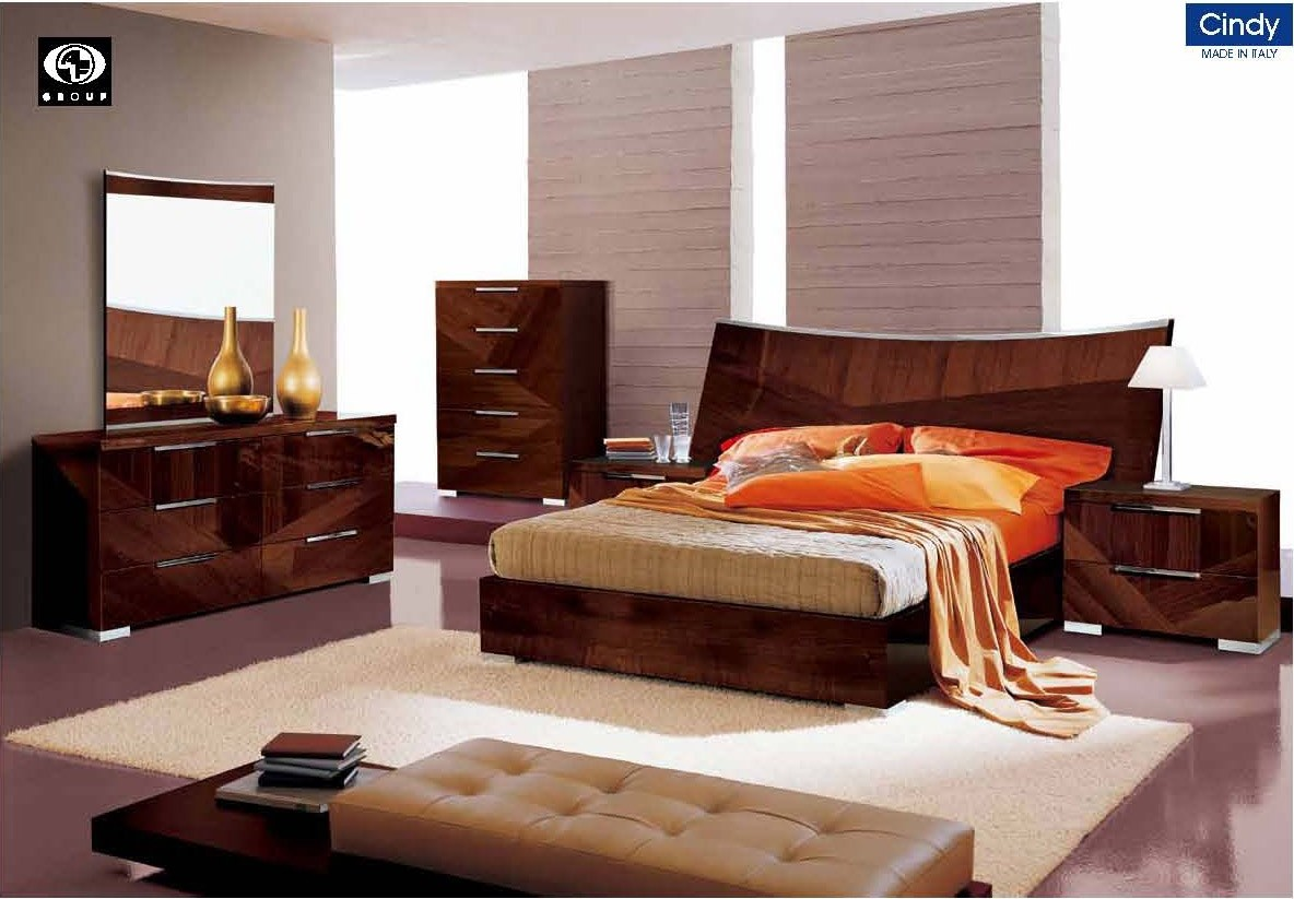ESF Cindy Italian Bedroom Set in Walnut Lacquer Finish