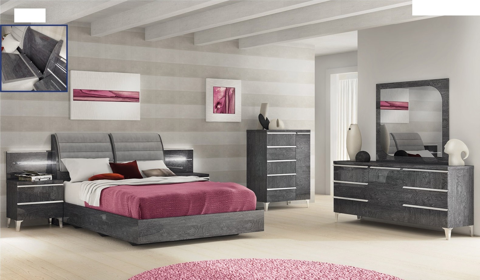 ESF Elite Italian Bedroom Set in Grey Lacquer Finish