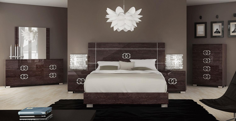 Esf Prestige Italian Bedroom Set Brown Lacquer Finish