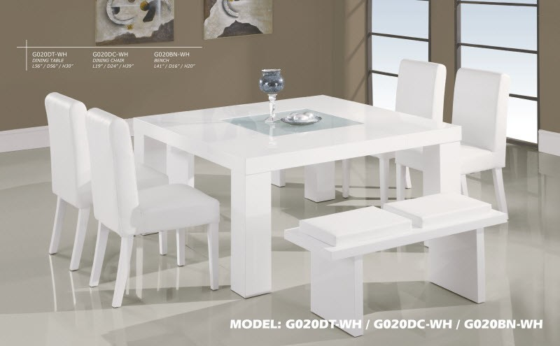 G020dt Wh Square Table 7 Piece White Dining Set