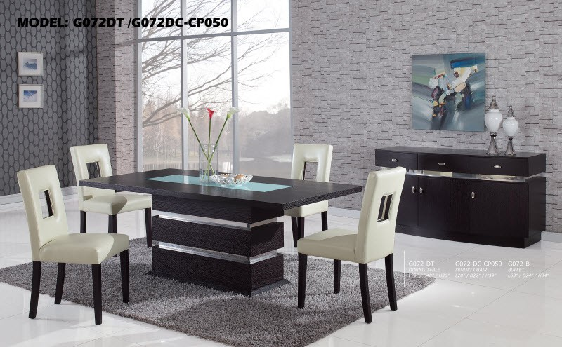 G72DT Modern Wood 5 Piece Dining Set With Brown Or White Chairs ...