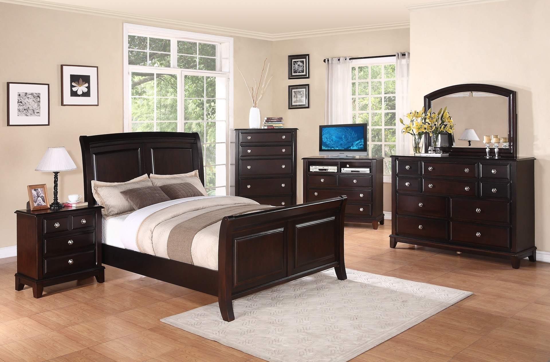 g9800a sleigh bedroom set in cappuccino solid wood