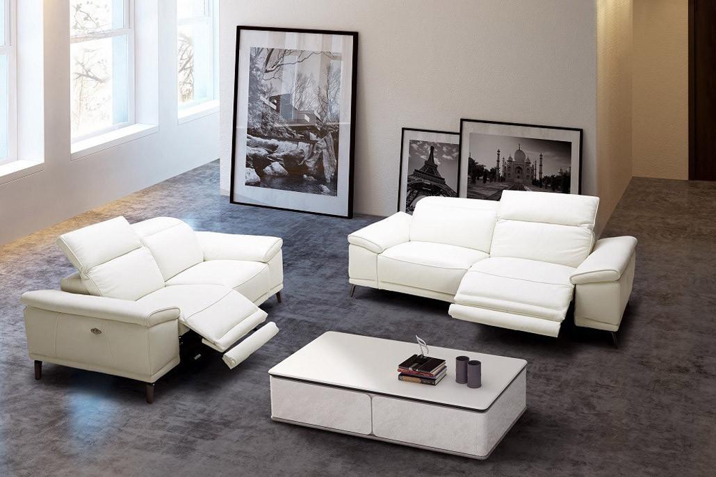 J&M Gaia Reclining Living Room Set in White Premium Leather
