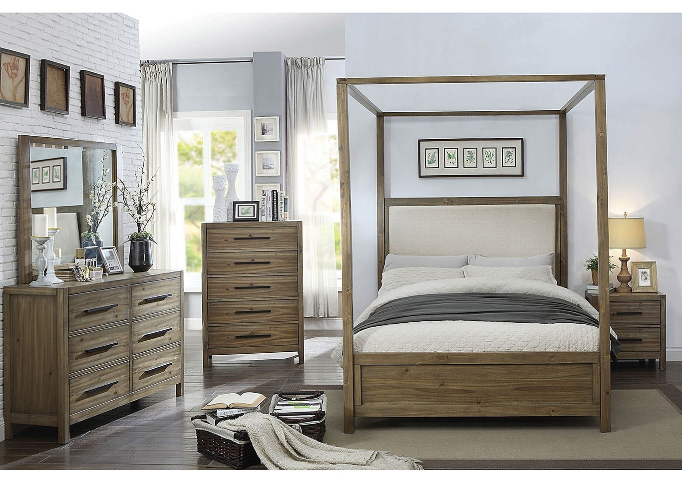 Garland Canopy Bedroom Set in Oak and Cream by Furniture ...
