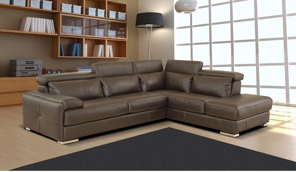 Nicoletti Gary Sectional Sofa in Ash Grey Italian Leather